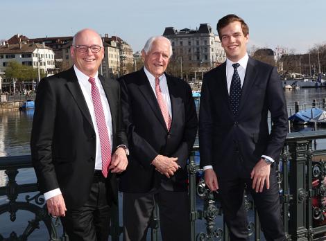Drei Generationen der Familie Bidermann: Martin H. Bidermann, Hans J. Bidermann, Jay Bidermann